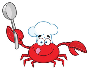Crab Chef Cartoon Mascot Character Holding A Spoon. Vector Illustration Isolated On White Background