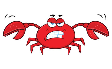 Angry Crab Cartoon Mascot Character. Illustration Isolated On White Background