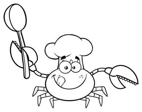 Black And White Crab Chef Cartoon Mascot Character Holding A Spoon. Vector Illustration Isolated On White Background