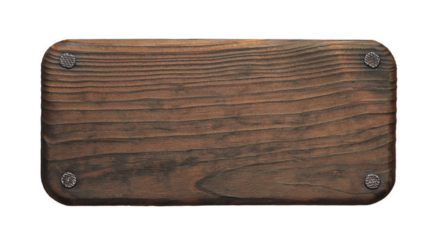 Rustic wood board with nails