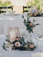 Creative wedding decoration on wedding table