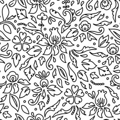 Simple black and white flowers leaves and swirls, seamless pattern, vector