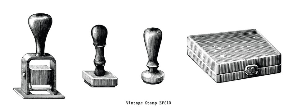 Vintage rubber stamp hand draw clip art isolated on white background
