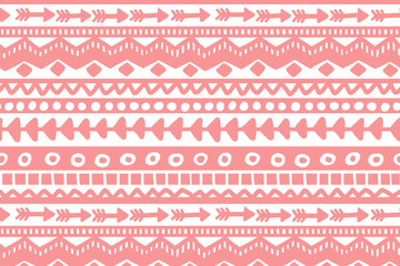 Pink and white geometric background. Ethnic hand drawn pattern