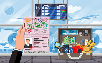 International airport concept. Hand with passport. Travel suitcase. Airport terminal and aircraft. Cityscape. Vector illustration flat style