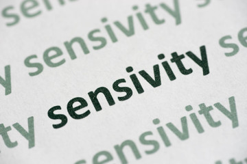 word sensivity printed on paper macro