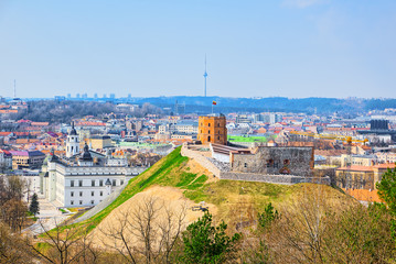 Fotomurales - View of Vilnius from the hill of Three Crosses point of view to the  Vilnius City.