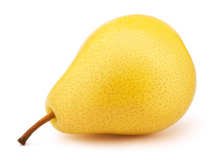 Fresh yellow pear fruit isolated on the white background with clipping path. One of the best isolated pears that you have seen.
