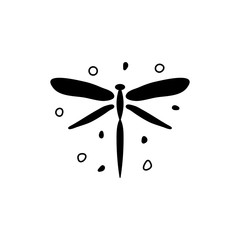 Vector illustration of black dragonfly and dots.