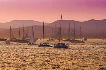 sail boats and yacht at sea sunset. Saint Tropez, France