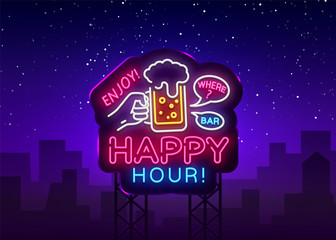 Happy Hour neon sign vector. Happy Hour Design template neon sign, Night Dinner, celebration light banner, neon signboard, nightly bright advertising, light inscription. Vector Billboards