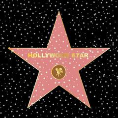 Hollywood star on celebrity fame of walk boukevard vector eps 10