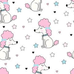 Seamless pattern with funny poodle dog