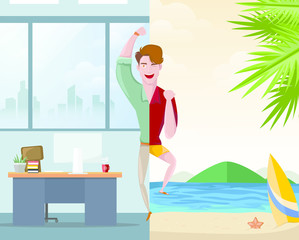 Handsome man happy going to work while the other one going on a vacation concept. Character vector illustration