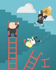 Business concept cartoon illustration. success no shortcuts