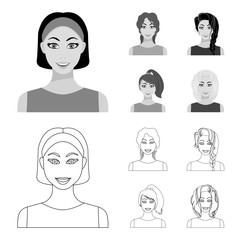 Types of female hairstyles outline,monochrome icons in set collection for design. Appearance of a woman vector symbol stock web illustration.