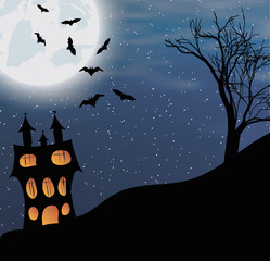 Vector illustration of a landscape with a Halloween castle and big moon
