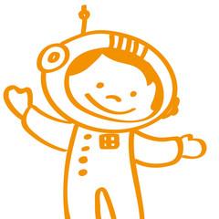Handgezeichneter Astronaut in orange