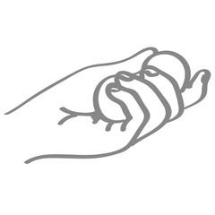 Handgezeichnete Hand hält  Kugeln in grau