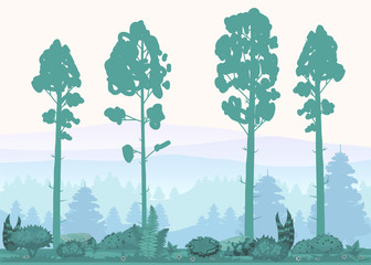 Cartoon illustration of background forest. Bright forest woods, silhouttes, trees with bushes, ferns and flowers. For design game, apps, websites. Vector, cadroon style, isolated
