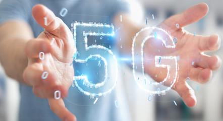 Businessman using 5G network digital hologram 3D rendering