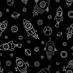 Animals in space seamless vector background. Rocket ships. Astronaut mouse, cat, giraffe, dog, and lion in rocket ships white on black. Space themed monochrome kids pattern. Great for children, babys.