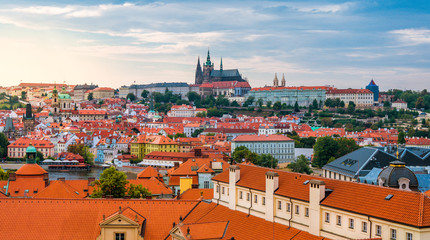 Beautiful summer panoramic image of Prague old town from above in Czech Republic. Rooftop cityscape.