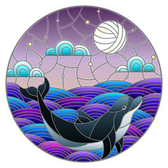 Illustration in stained glass style dolphin into the waves, starry sky,moon  and clouds, round image
