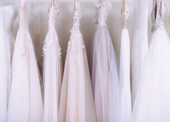 Wedding Dresses in dress store.vWedding shopping