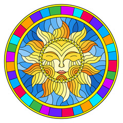 Illustration in the style of a stained glass window with abstract sun in bright frame,round image