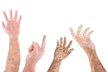 Set of man hands polygon design style on white background