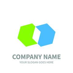 twin hexagon business logo template
