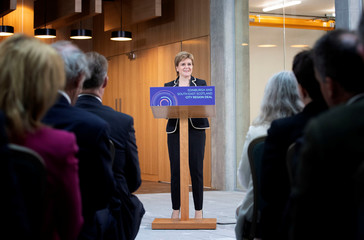 Scotland's First Minister Nicola Sturgeon speaks at the University of Edinburgh before signing the Edinburgh and South East Scotland City Region Deal in Edinburgh, Scotland