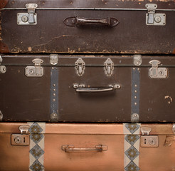 stack of retro suitcases