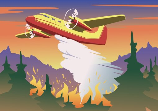 Firefighting plane dropping water on burning forest. Aerial firefighting and wildfire concept in color. Flat vector illustration. Horizontal.