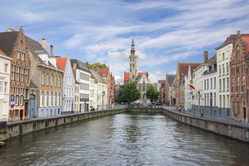 Bruges canals and Van Eyck square, Belgium