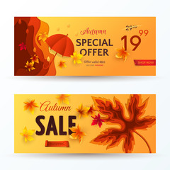 Set of vector autumn sale banners with 3D realistic carving art of maple leaf, cut out of paper red umbrella and rain drops on orange background. Template for flyer with discount offers in fall season