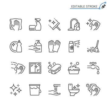 Cleaning line icons. Editable stroke. Pixel perfect.