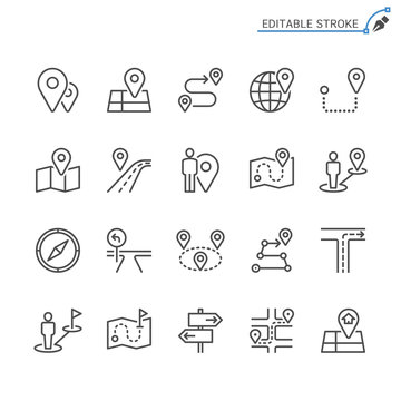 Route line icons. Editable stroke. Pixel perfect.