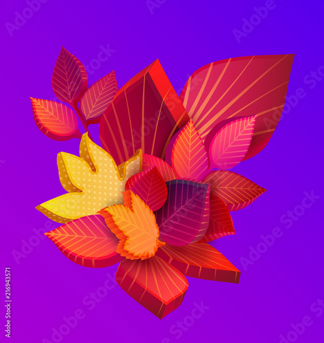 Autumn spectrum background with beautiful 3d leaves