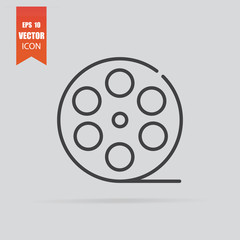 Film reel icon in flat style isolated on grey background.