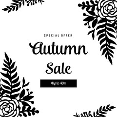 Collection autumn card with flower hand draw vector illustration