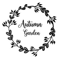 Autumn garden flower frame card collection vector illustration