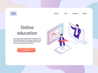 Online webinar. Education isometric landidng page. Technology vector illustration