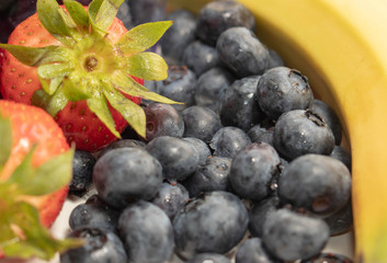 Close up Blueberries, Strawberries and a Banana