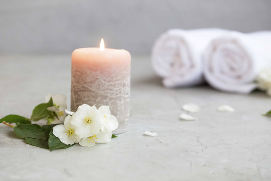 Spa still life with candle