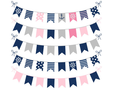 Pink, blue and grey nautical buntings for girl birthday invites, birthday designs and greeting cards