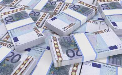 3D realistic render of 20 Euro Money. euro cash background. Euro Money Banknotes
