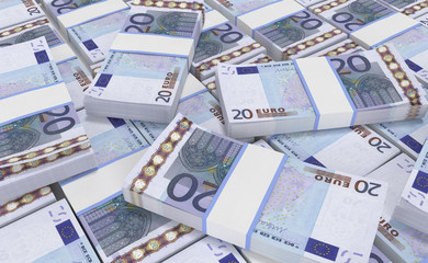 3D realistic render of 20 Euro Money. euro cash background. Euro Money Banknotes