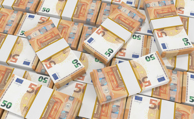 3D realistic render of 50 Euro Money. euro cash background. Euro Money Banknotes